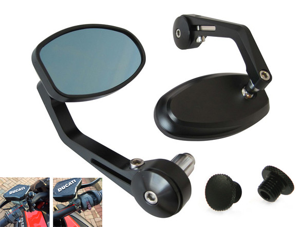 High Quality Billet Aluminium Ducati Cafe Racer & Streetfighter Motorbike Bar End Mirrors with M8 Blanking Plugs