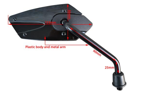 PAIR High Quality Black M10 Wing Mirrors for Yamaha Motorbike Trike ATV Quad