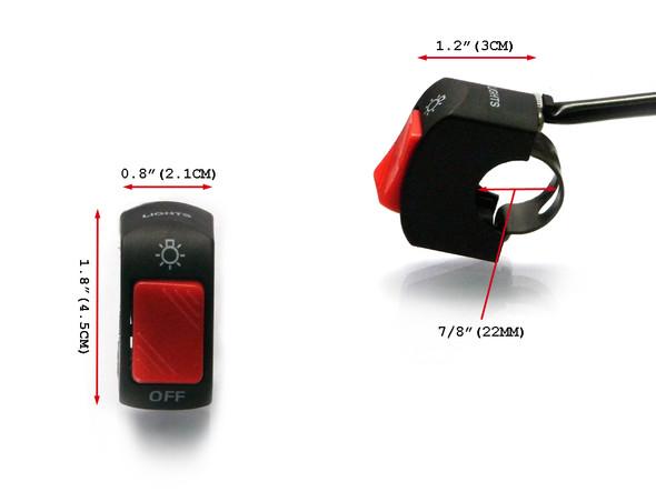 "Universal Headlight / Spotlight / Foglight Switch to fit 22mm 7/8"" Handlebars for Motorbike Trike Quad"