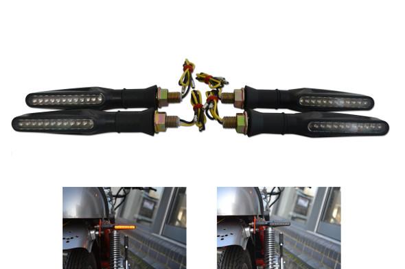 Black Slim Line of Motorbike Motorcycle LED Indicators with Single Row LEDS - 2 x Pairs