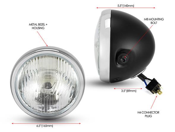 "6"" Matt Black & Chrome H4 Retro Headlight Project Cafe Racer Scrambler Motorbike"