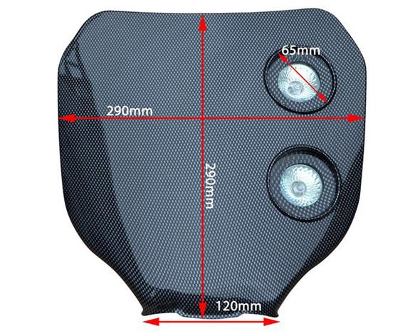 Universal Carbon Fibre Effect 12V/20W Double Headlight For All Motocross & Enduro Motorbikes -