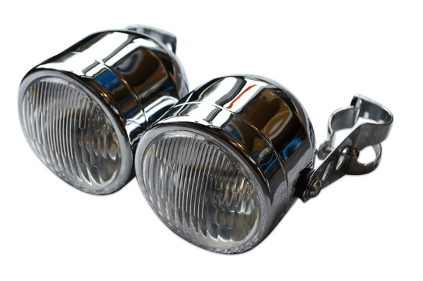 Pair of Chrome Streetfighter Retro Motorbike 35W Headlights & Brackets 32-40mm