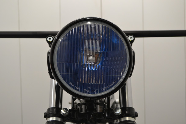 "H4 Headlight 7.5"" Gloss Black Metal 12V 55W Retro Project Motorbike Motorcycle"