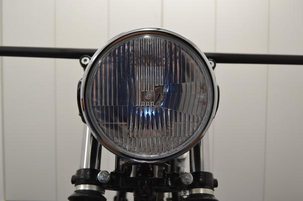 "H4 Headlight 7.5"" Gloss Black Metal with Chrome Bezel 12V 55W Retro Project Motorbike Motorcycle"
