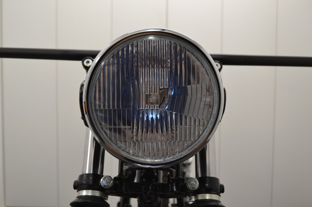 "H4 Headlight 7.5"" Gloss Black Metal with Chrome Bezel 12V 55W Retro Project Motorbike Motorcycle"