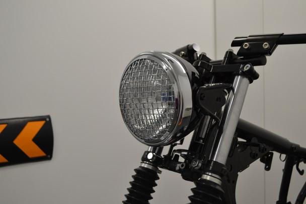 "Retro Project Motorbike 7.5"" Headlight - Black with Chrome Mesh Grill - 12V 55W"