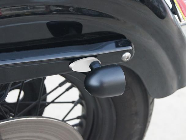 Rear Rail Block Off Indicator Turn Signal Adapter Plates for Harley Davidsons - Brushed Aluminium