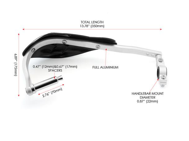 Black Motocross / Enduro Motorbike Plastic & Aluminium Insert Handguards for 22mm to 28mm Handlebars