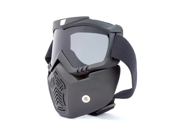 Full Face Mask & Goggles with Sliver Lens for Bikers' Open Face Helmets