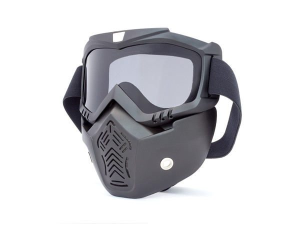 Full Face Mask & Goggles with Smoked Lens for Bikers' Open Face Helmets