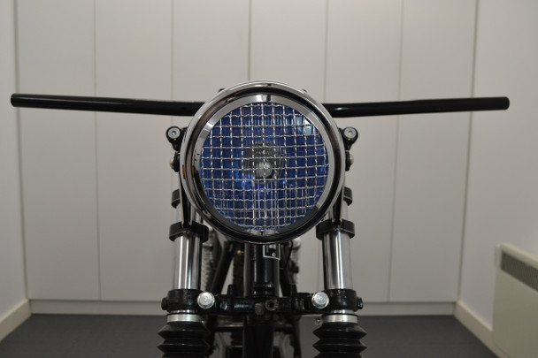 "6"" CHROME Mesh Grill H4 Retro Headlight for Project Cafe Racer Scrambler Motorbike"