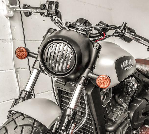 "5.75"" INCH Black Prison Grill Metal Headlight Cover for Scrambler Brat Motorbike"