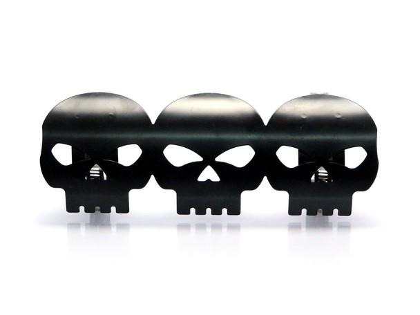 PAIR of Black Skull Metal Exhaust Heat Shields Guards for Motorbike Motorcycle Trike