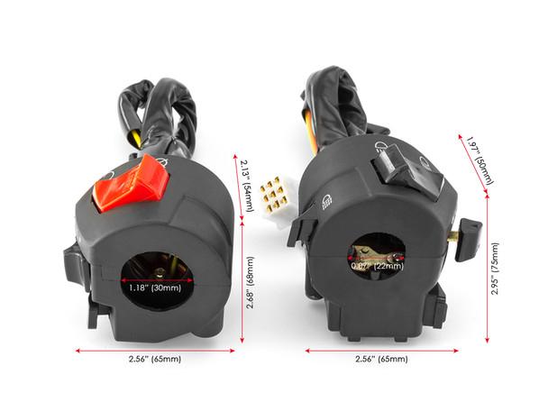 "Motorbike Switchgear / Control Kit to fit 22mm 7/8"" Handlebars + ATV Quad Trike"