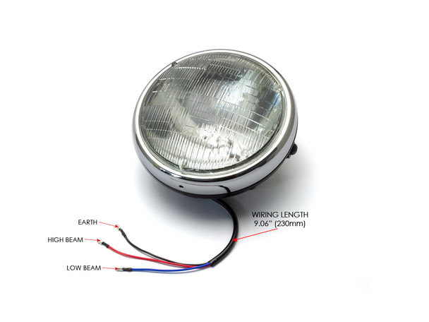 "Motorbike 7.7"" Headlight Black with Chrome Bezel 12V 55W Cafe Racer & Scrambler - SHALLOW"