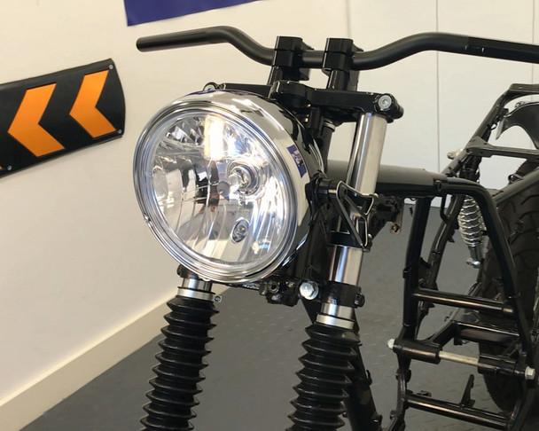 "Motorbike Headlight 12V 55W Black Steel 8"" Inch Retro Classic Old School Look"