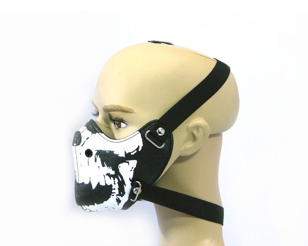 Black Skull Bikers Face Mask - Bike Riders - PU Synthetic Leather - One Size