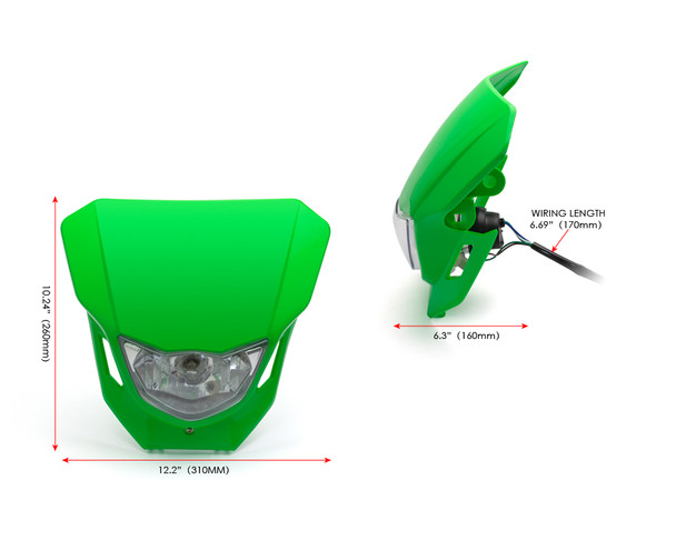 Motorbike Headlight Mask - Supermoto & Streetfighter - Green - 12V 35W