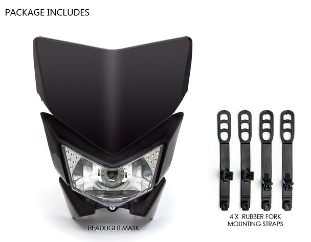 Motorbike Headlight Mask - Streetfighter & Supermoto - Black - 12V 35W
