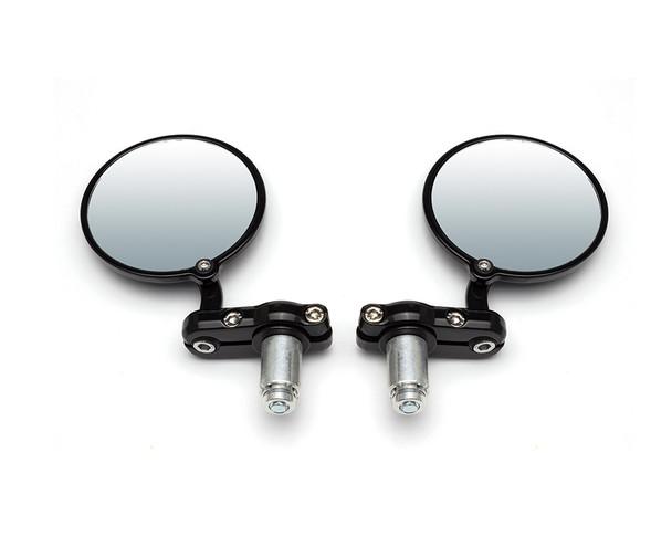 "Motorbike Bar End Mirrors Black Aluminium for 22mm (7/8"") Handlebars - HIGH QUALITY"
