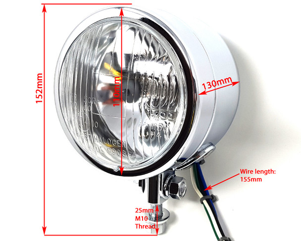 "Motorbike Headlight for Custom Project Bike - 4.5"" 4 1/2"" 12V Chrome - Homologated"