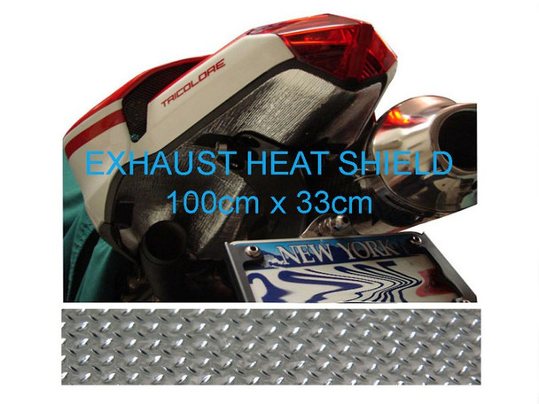 2 x Self-Adhesive Aluminium Reflective Exhaust Heat Shield - 100cm x 33cm for Motorbike Race Bike Trike Quad Car