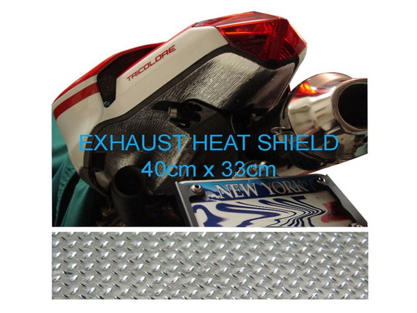 2 x Exhaust Heat Shield Sheet - 40cm x 33cm for Motorbike, Race Bike, Trike, Quad - Reflective & Self-Adhesive