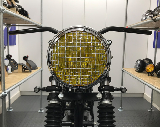 "7.7"" Motorbike Headlight - Chrome with Mesh Grill & Yellow Lens - H4 55W"