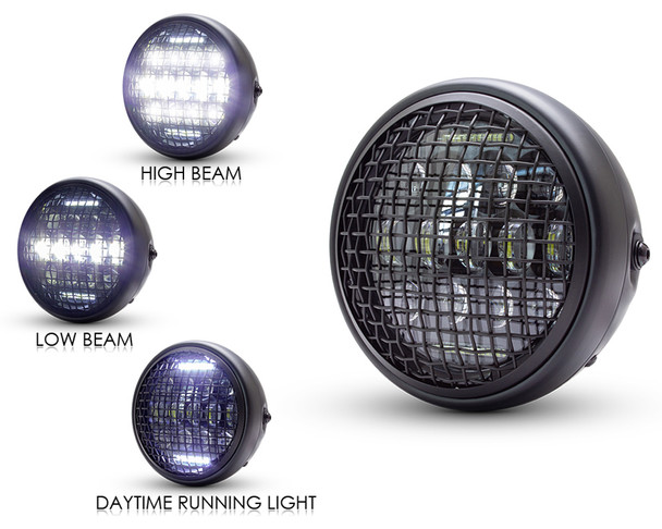 "Motorbike Headlight 7.5"" Projector LED with Mesh Grill for Cafe Racer Retro Custom Project"