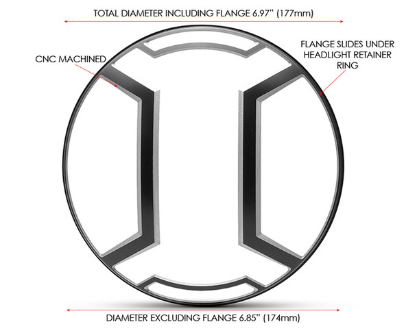 "Armour Design 7"" INCH Motorbike Headlight Cover Guard for Cafe Racer Scrambler Project Retro"