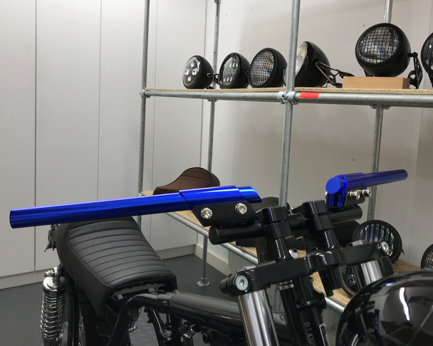 "BLUE 7/8"" 22mm Handlebar Custom Cafe Racer Brat Bike Retro Project Motorbike"