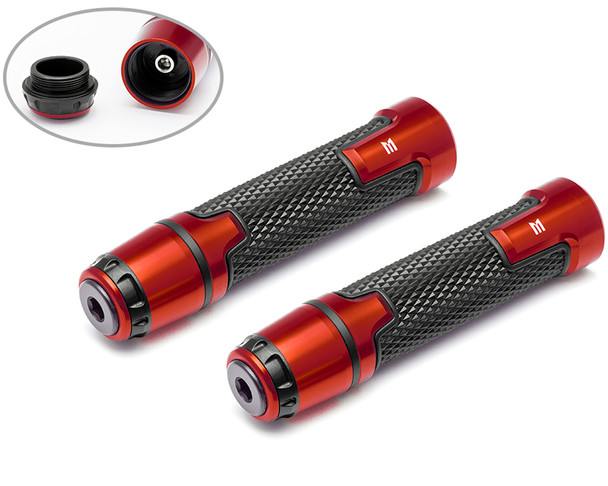 Orange Motorbike Hand Grips & Bar Ends for 22mm bars - Anodised Aluminium - High Quality