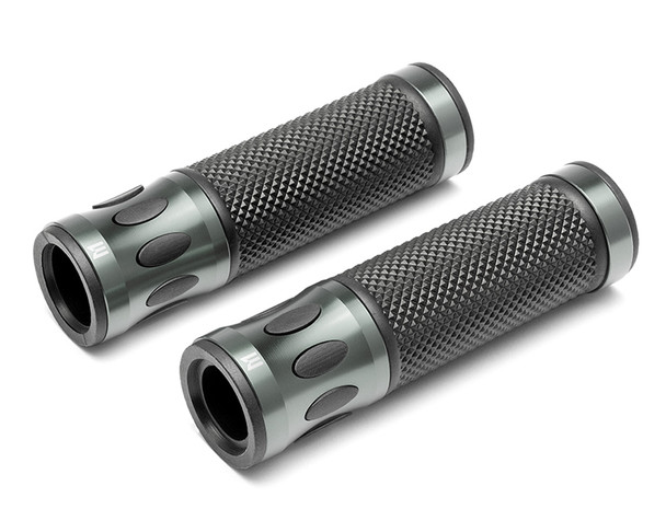 Grey Motorbike Hand Grips for 22mm bars - Anodised Aluminium - High Quality