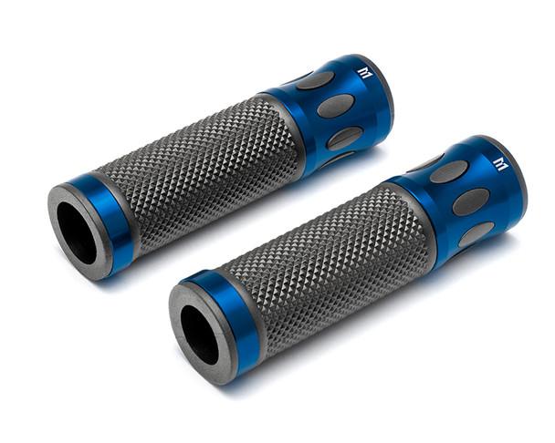 Blue Motorbike Hand Grips for 22mm bars - Anodised Aluminium - High Quality
