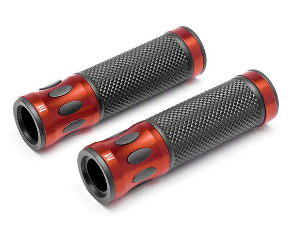 Orange Motorbike Hand Grips for 22mm bars - Anodised Aluminium - High Quality