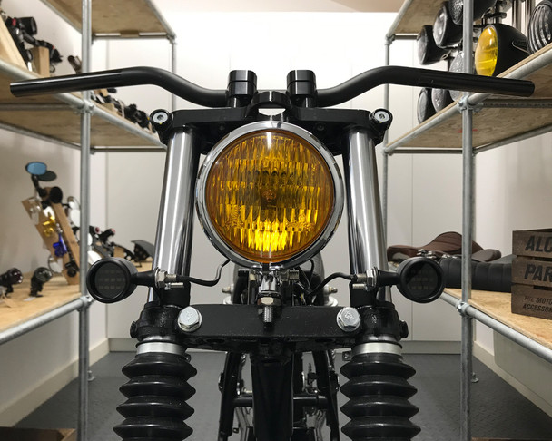 Motorbike Front LED Indicators with Driving Lights DRL - Integrated Bullet Style - CNC Billet Aluminium