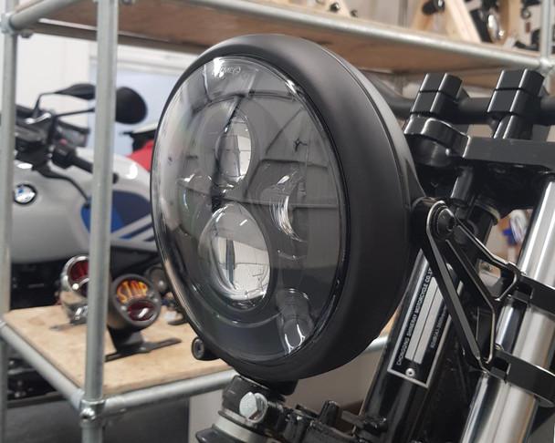 "7.7"" LED Projector Headlight - Matt Black 12V 66W for Cafe Racer & Scrambler - SHALLOW"