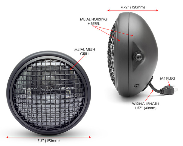 "7.7"" LED Projector Headlight with Mesh Grill - Matt Black 12V 66W for Cafe Racer & Scrambler - SHALLOW"