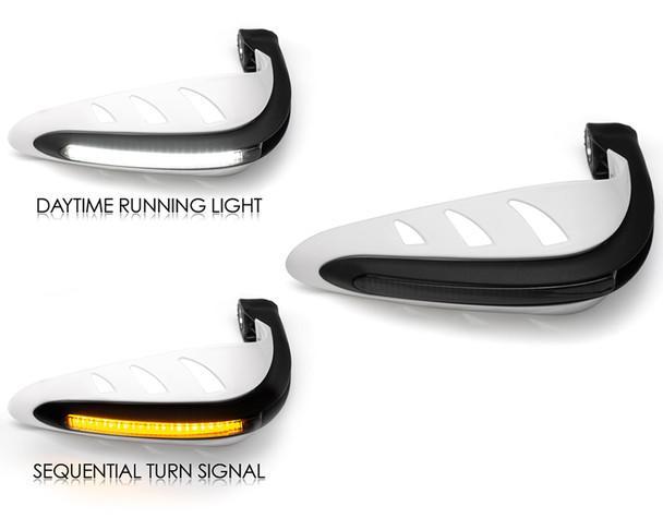 Motorbike Quad ATV Handguards - WHITE with LED Indicators & Daytime Running Lights