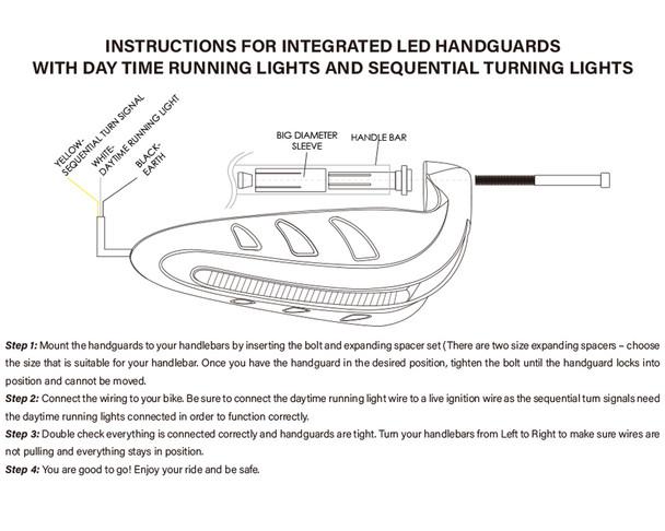 Motorbike Quad ATV Handguards - RED with LED Indicators & BLUE Daytime Running Lights