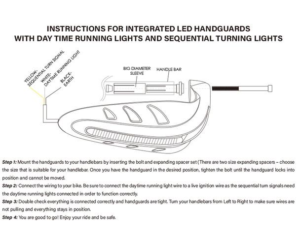 Motorbike Quad ATV Handguards - ORANGE with LED Indicators & BLUE Daytime Running Lights