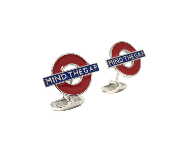 Sterling Silver MIND THE GAP Tube Cufflinks