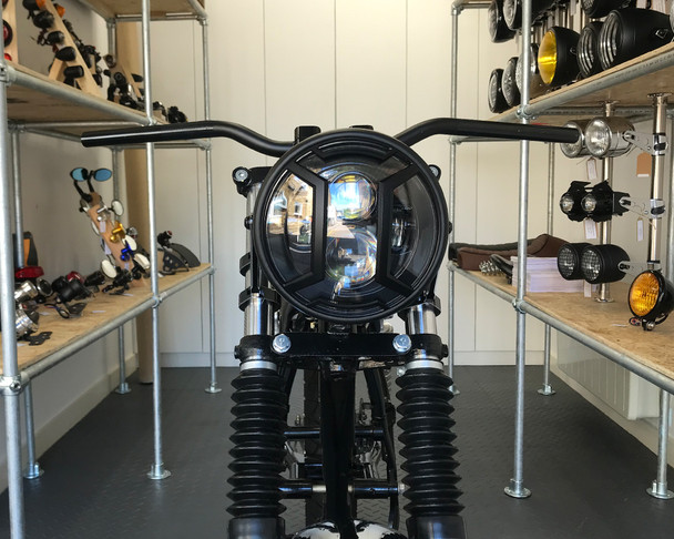 "Motorbike Headlight LED 7.7"" with Armour Grill for Retro Cafe Racer & Scrambler"