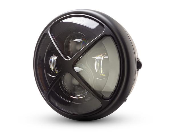 "Motorbike Headlight LED 7.7"" with X-Shaped Grill - Retro Cafe Racer & Scrambler"