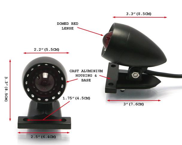 Motorbike LED Stop Taillight - Matt Black for Custom Retro Vintage Project