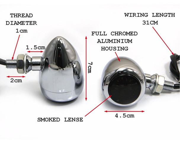 2 PAIRS of LED Indicators - Custom Cafe Racer Retro Aluminium - CHROME