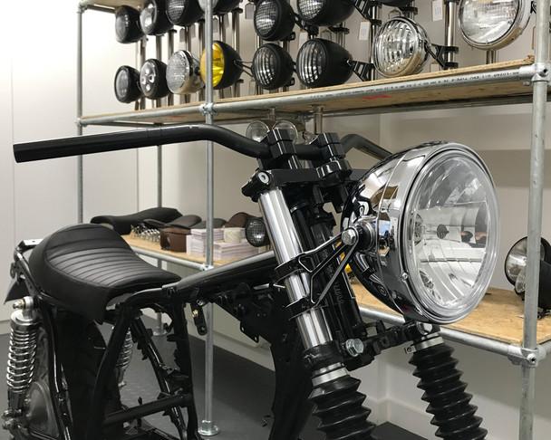 "Motorbike Headlight 12V 55W Chrome Steel 8"" Inch Retro Classic Old School Look"