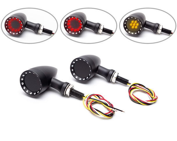 LED Indicators - REAR with Integrated Stop and Taillight for Custom Retro Project
