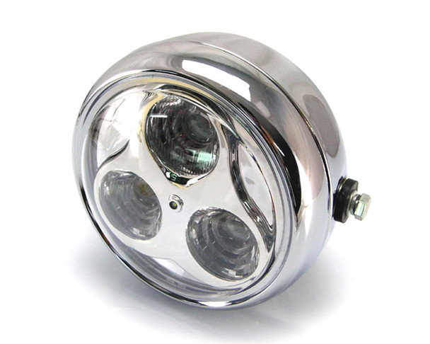 "LED Headlight - 6 3/4"" CHROME Metal for Retro Custom Project Special"